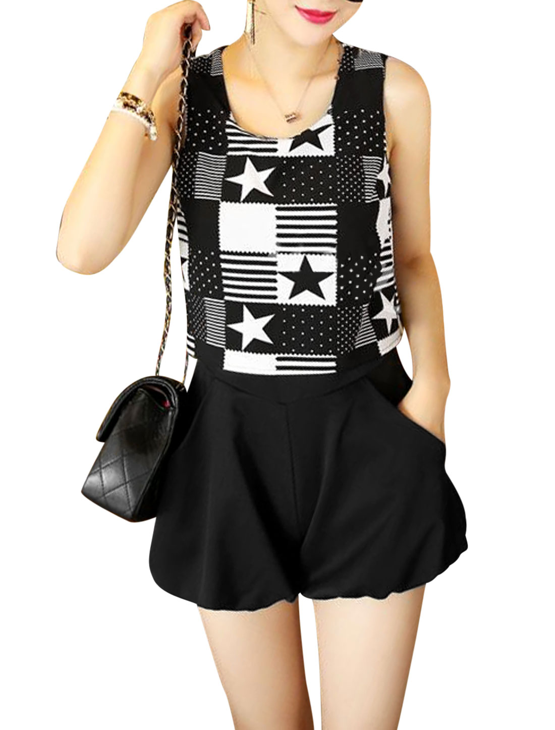 Lady Round Neck Chiffon Panel British Flag Pattern Romper White Black XS