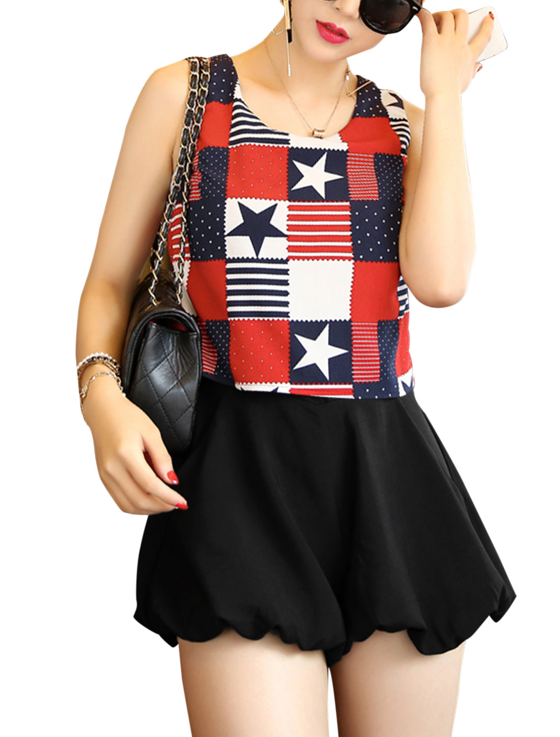 Lady Sleeveless Chiffon Panel British Flag Pattern Romper Red Black XS