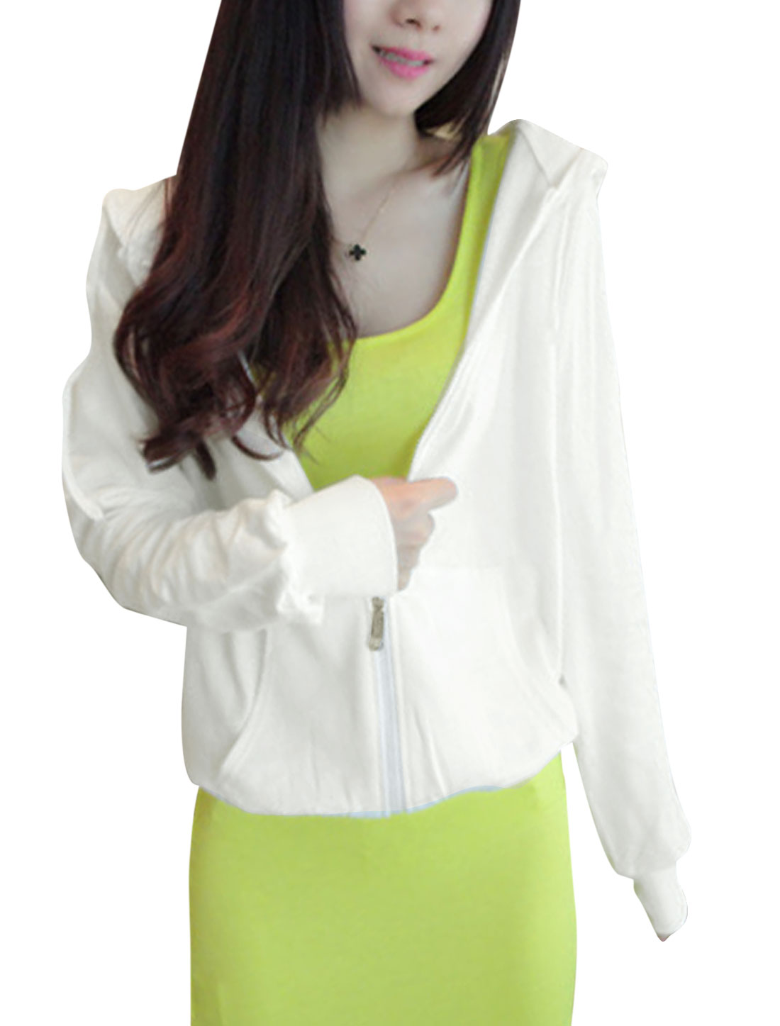 Lady Raglan Sleeve Double Slant Pockets Front Zip Up Hoodies White XS