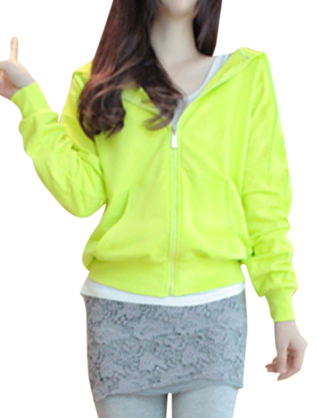 Lady Raglan Sleeve Double Slant Pockets Front Zip Fly Hoodies Green Yellow XS