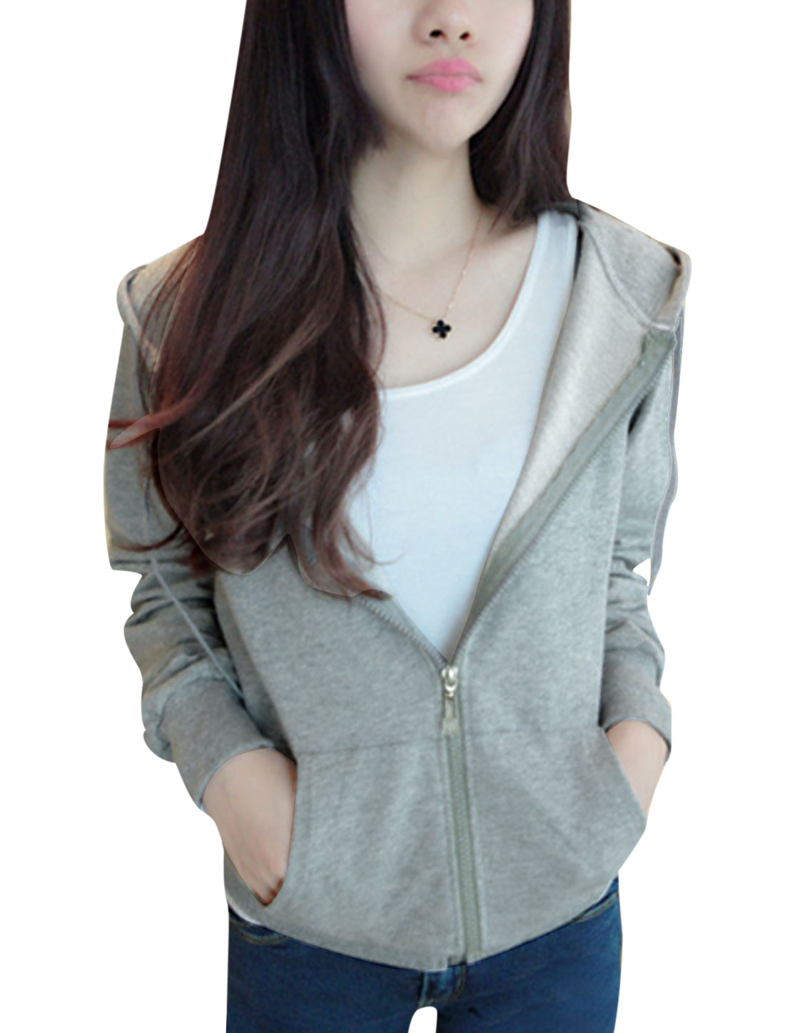 Lady Raglan Sleeve Double Slant Pockets Front Zip Front Hoodies Light Gray XS