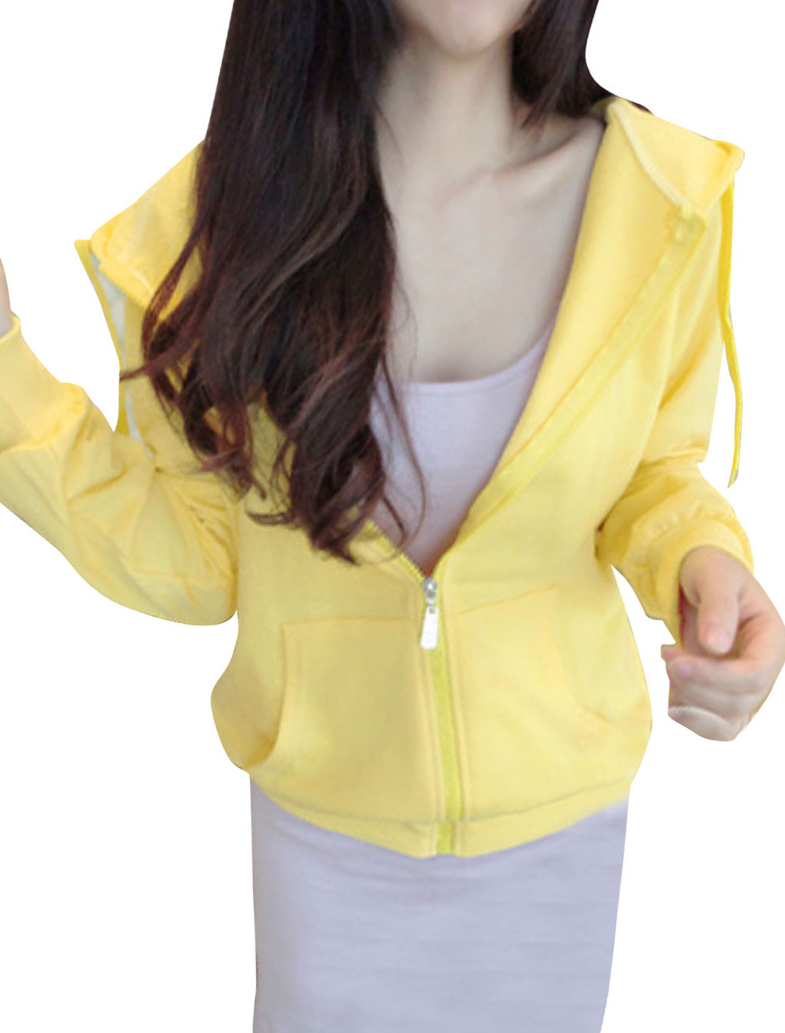 Lady Raglan Sleeve Two Slant Pockets Zipper Closure Hoodies Light Yellow XS