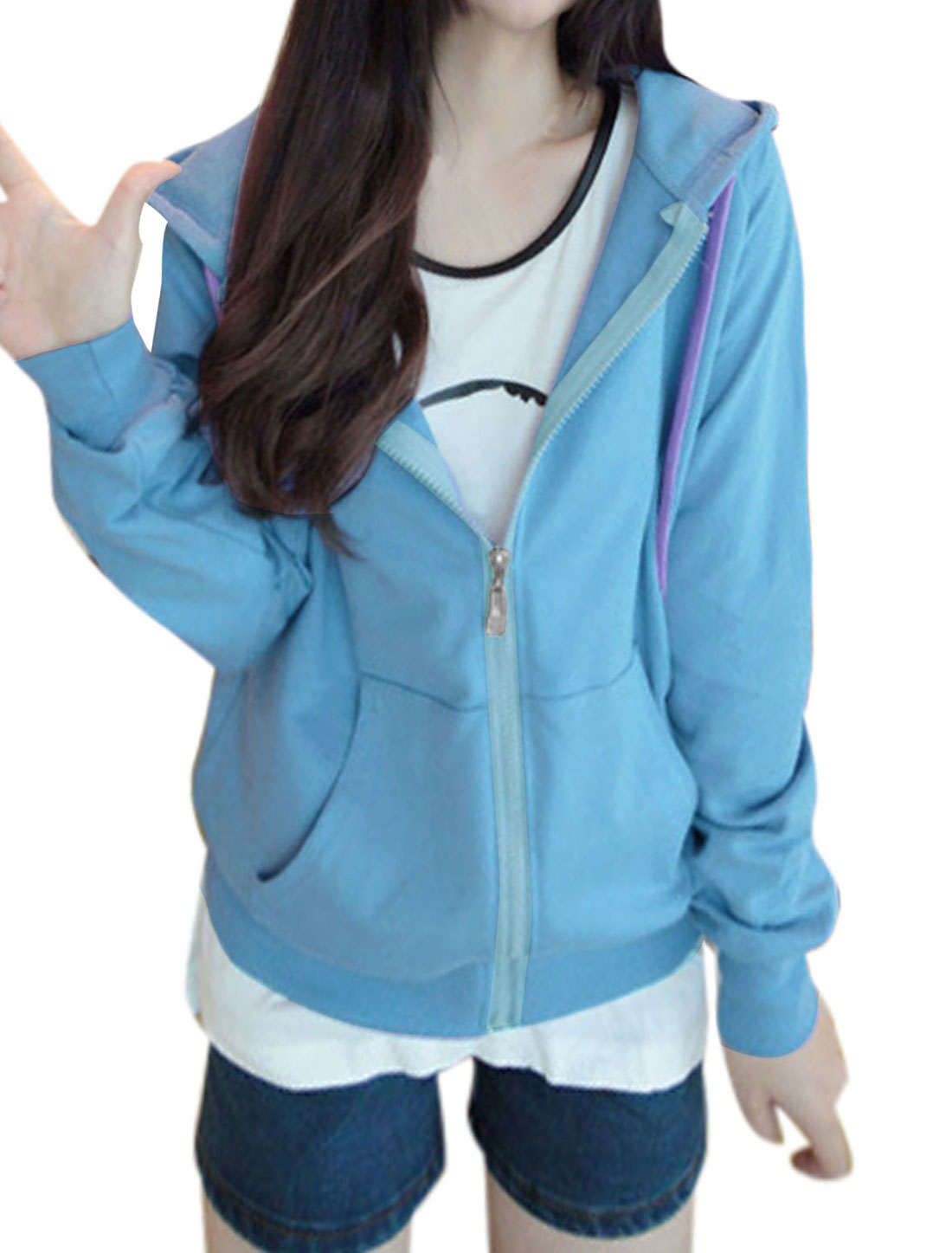 Lady Raglan Sleeve Double Slant Pockets Front Zip Up Hoody Blue XS