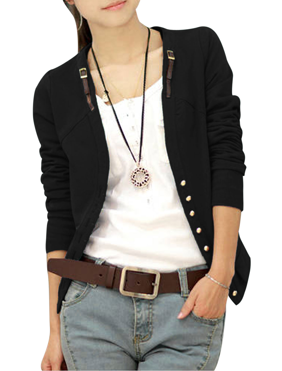 Lady Metal Buckle Tab Detail Single Breasted Casual Jacket Black S