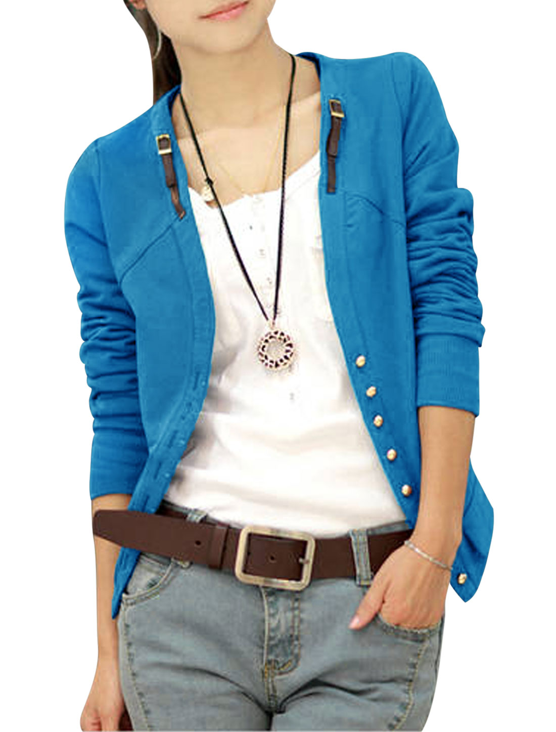 Lady Ribbing Cuffs w Hem Single Breasted Casual Jacket Blue S