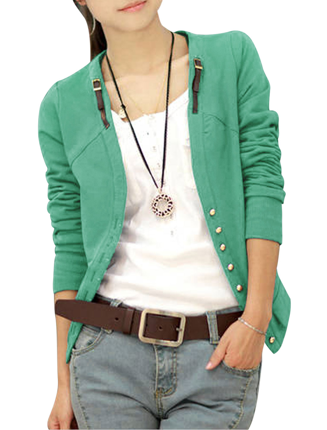 Lady Long Sleeve Ribbed Cuffs w Hem Single Breasted Casual Jacket Dark Green S