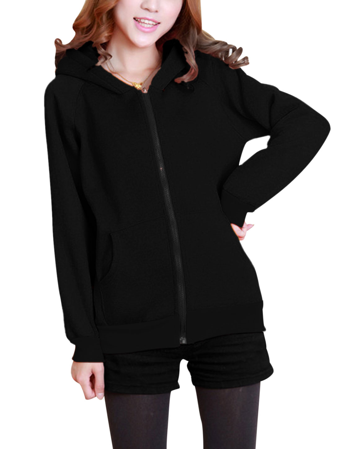 Lady Zip Fly Long Sleeve Bear Ears Fleece Lined Cute Hoodie Coat Black XS