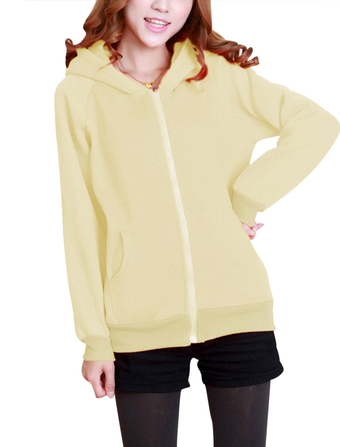 Lady Zip Up Long Sleeve Bear Ears Fleece Lined Cute Hoodie Coat Beige XS