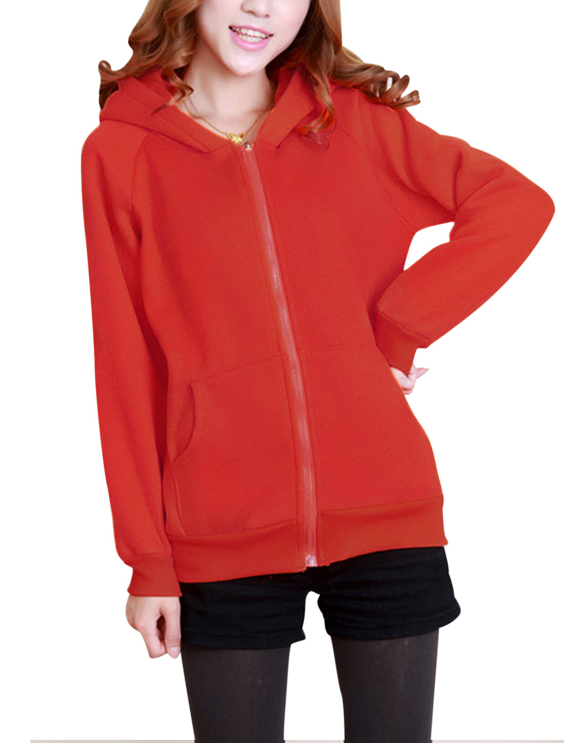 Lady Zipper Closure Long Sleeve Bear Ears Cute Hoodie Coat Red XS