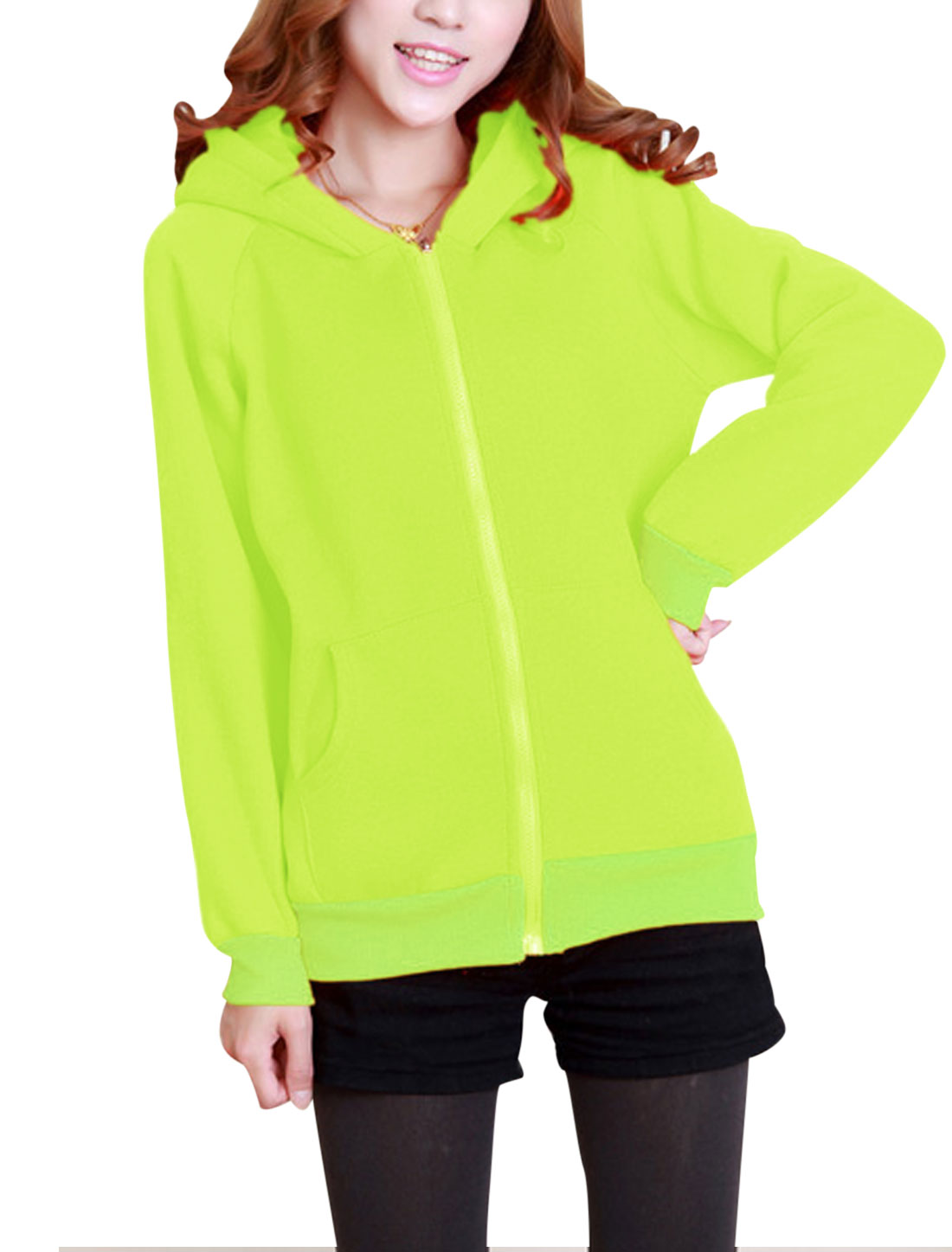 Lady Casual Zip Fly Bear Ears Fleece Lined Cute Hoodie Coat Fluorescent Green XS