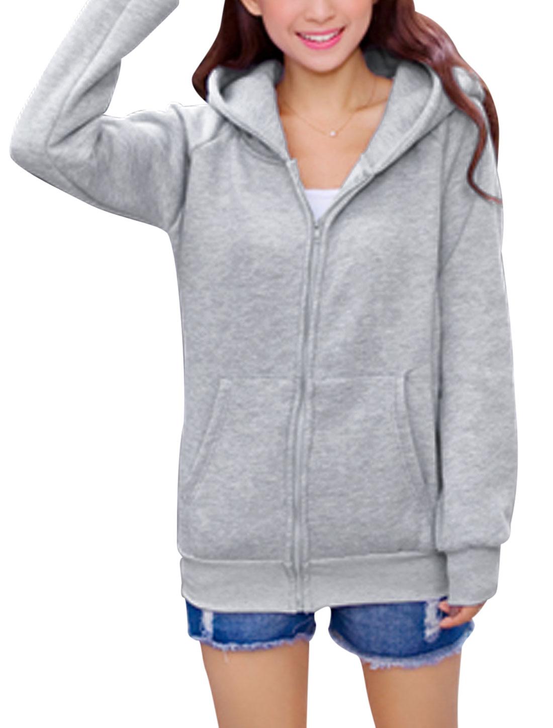 Lady Pure Pattern Bear Ears Fleece Lined Cute Hoodie Coat Light Gray XS