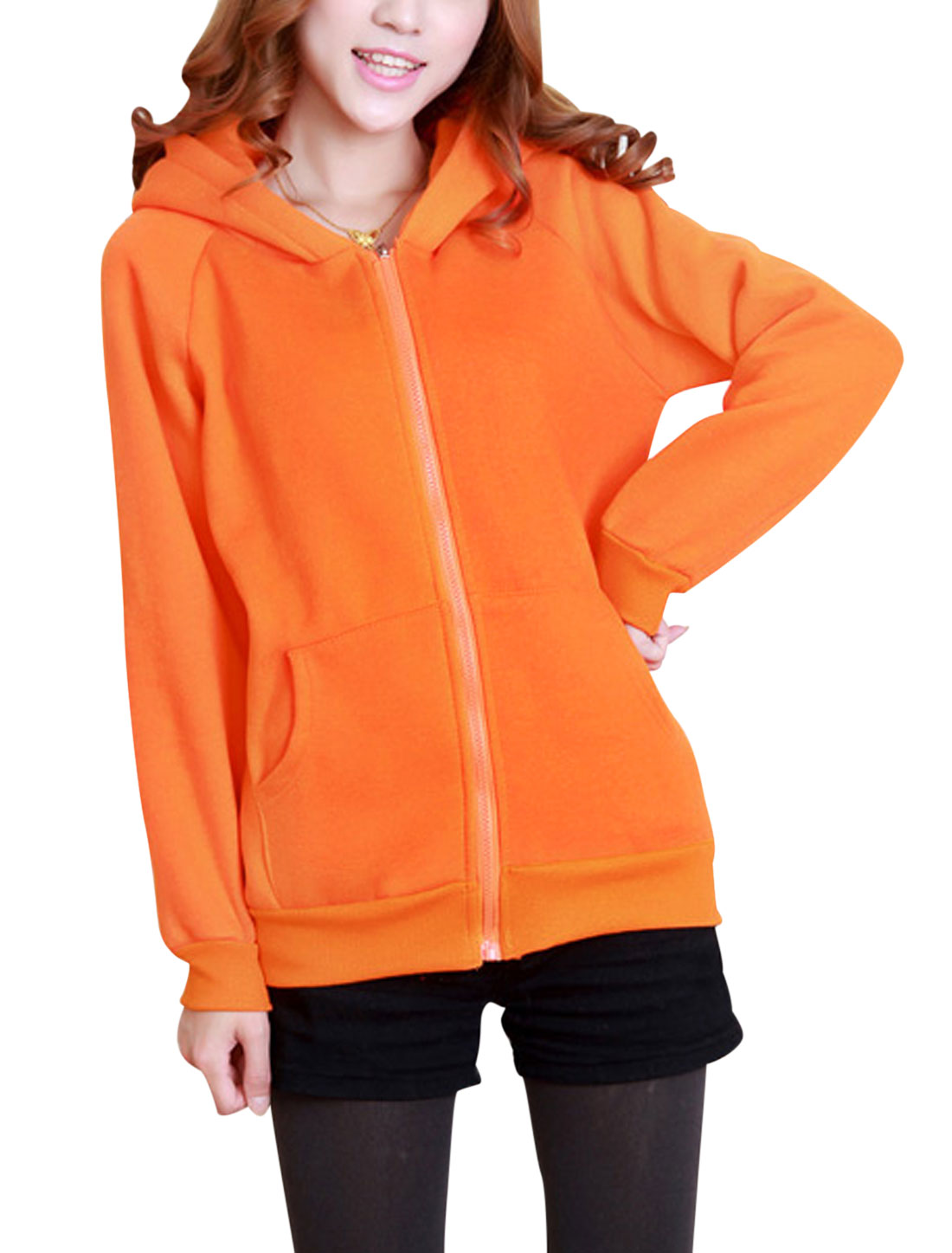 Lady Zip Fly Long Sleeve Bear Ears Soft Cute Hoodie Coat Orange XS