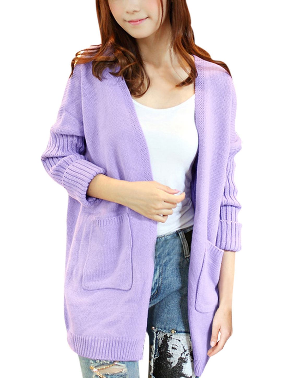 Lady Dolman Sleeve Opening Front Knit Cable Sweater Cardigan Lavender XS