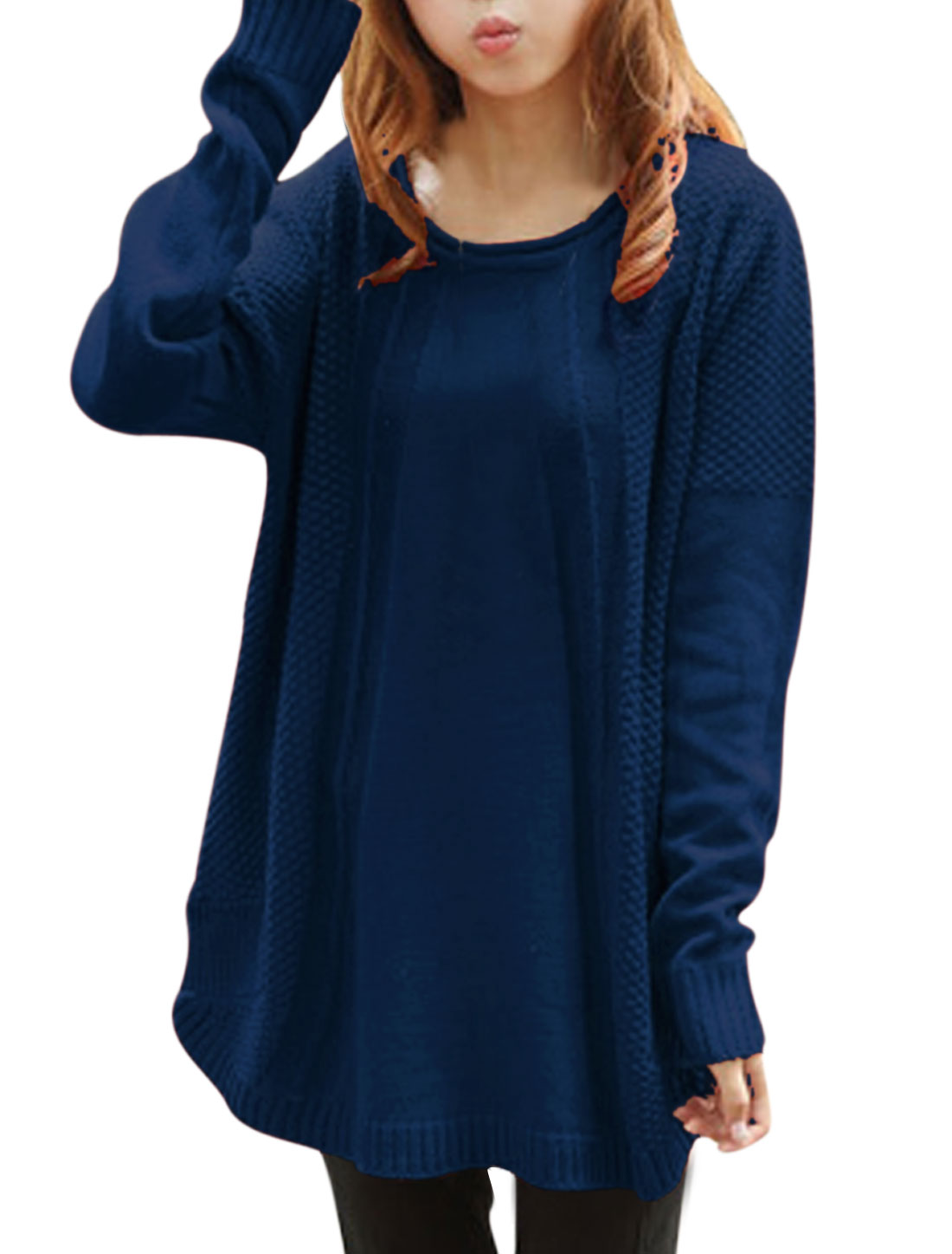 Lady Round Neck Long Batwing Sleeve Loose Tunic Knitting Sweater Dark Blue XS