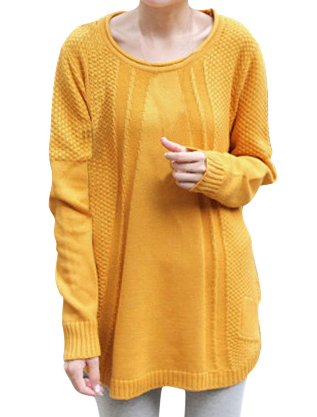 Lady Round Neck Long Dolman Sleeve Loose Tunic Knitting Sweater Orange XS