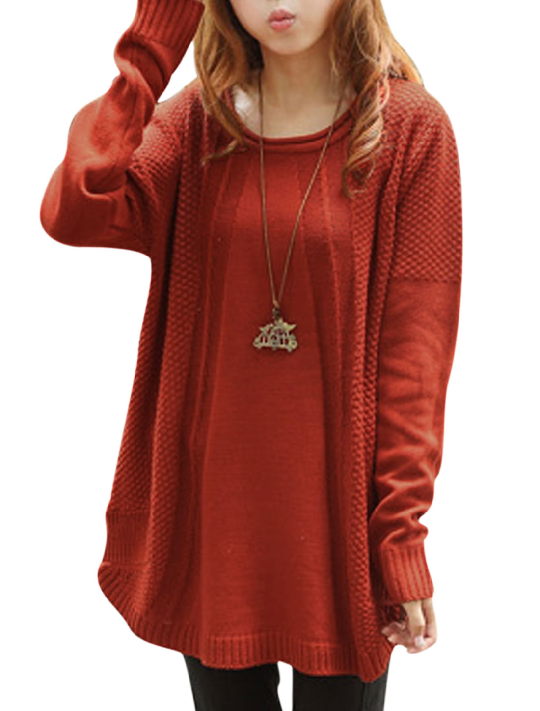 Lady Round Neck Long Batwing Sleeve Loose Knitwear Sweater Rust XS