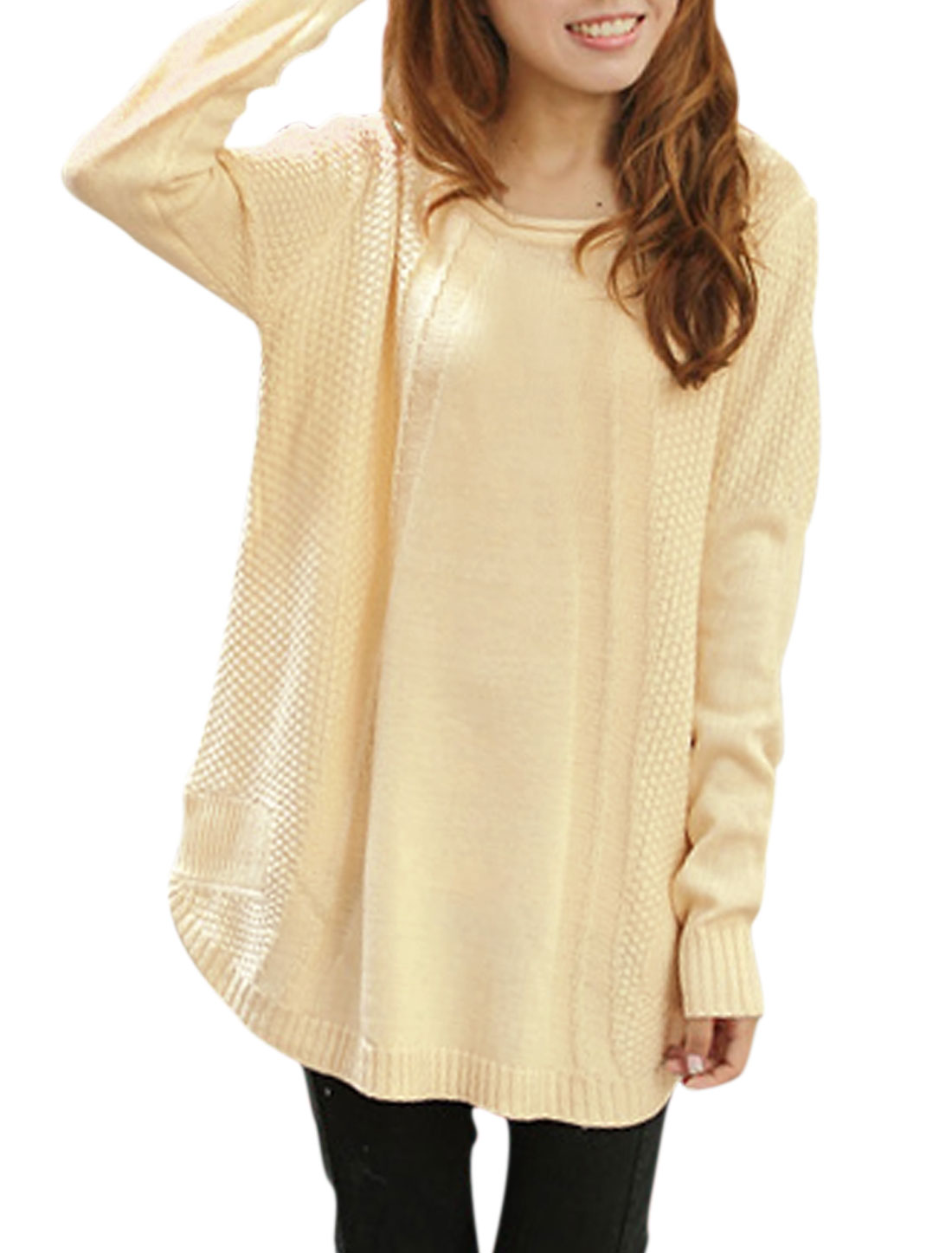 Lady Round Neck Long Batwing Sleeve Knitted Sweater Beige XS