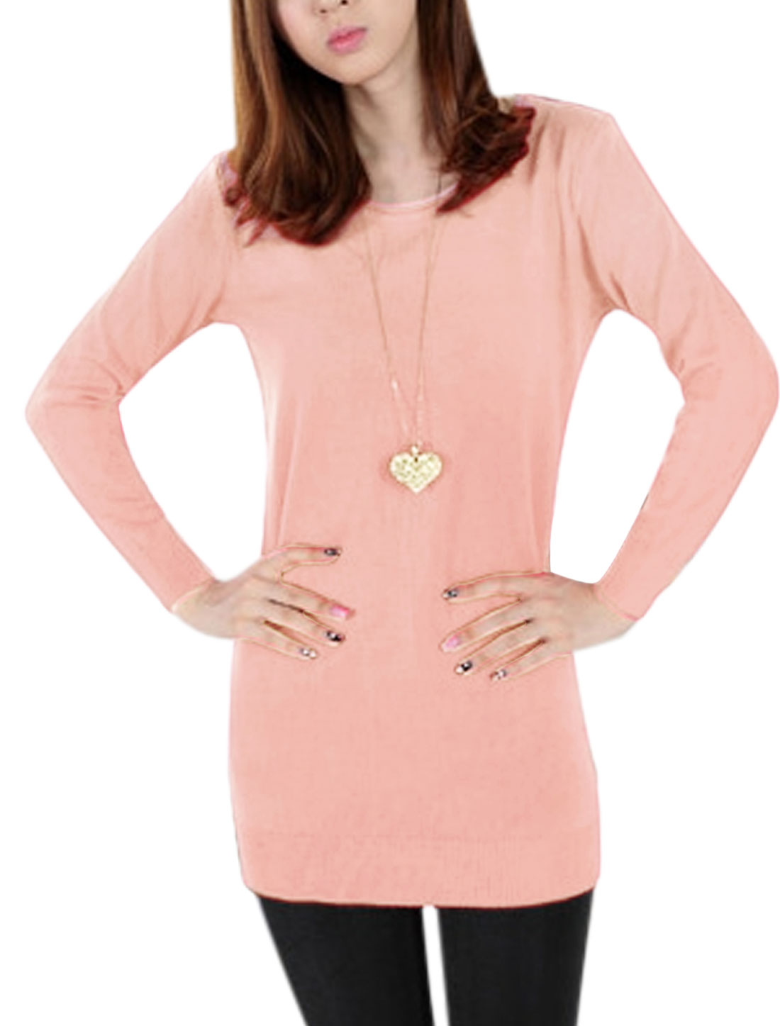 Ladies Round Neck Pullover Long Sleeve Tunic Knitwear Pink S