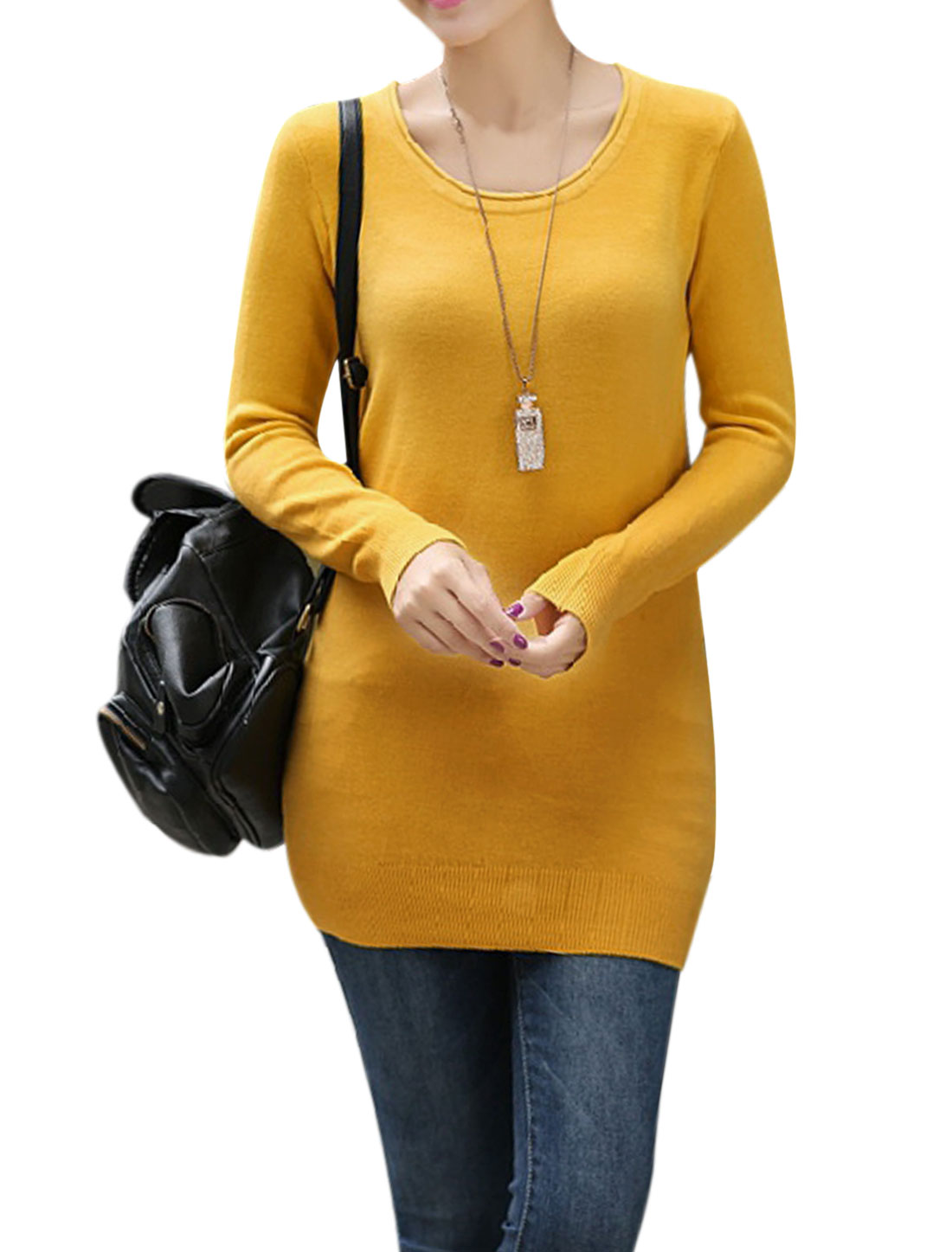 Ladies Round Neck Long-sleeve Tunic Knitwear Yellow S