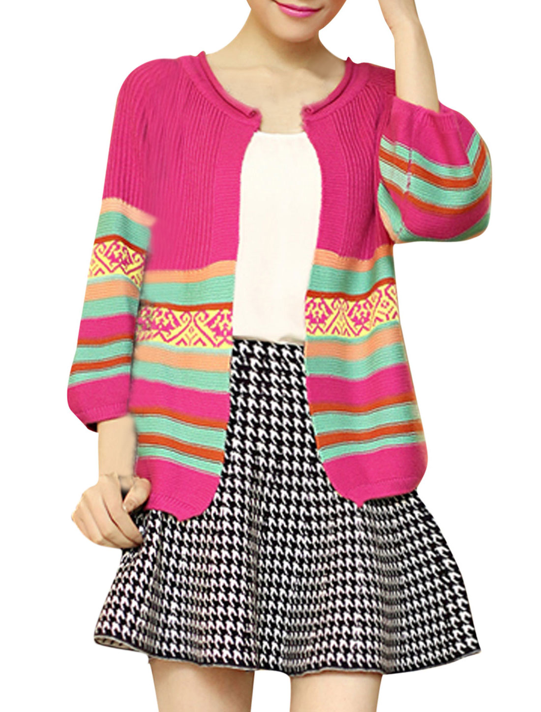 Lady 3/4 Sleeve Stripes Open-Front Knitted Cardigan Fuchsia XS