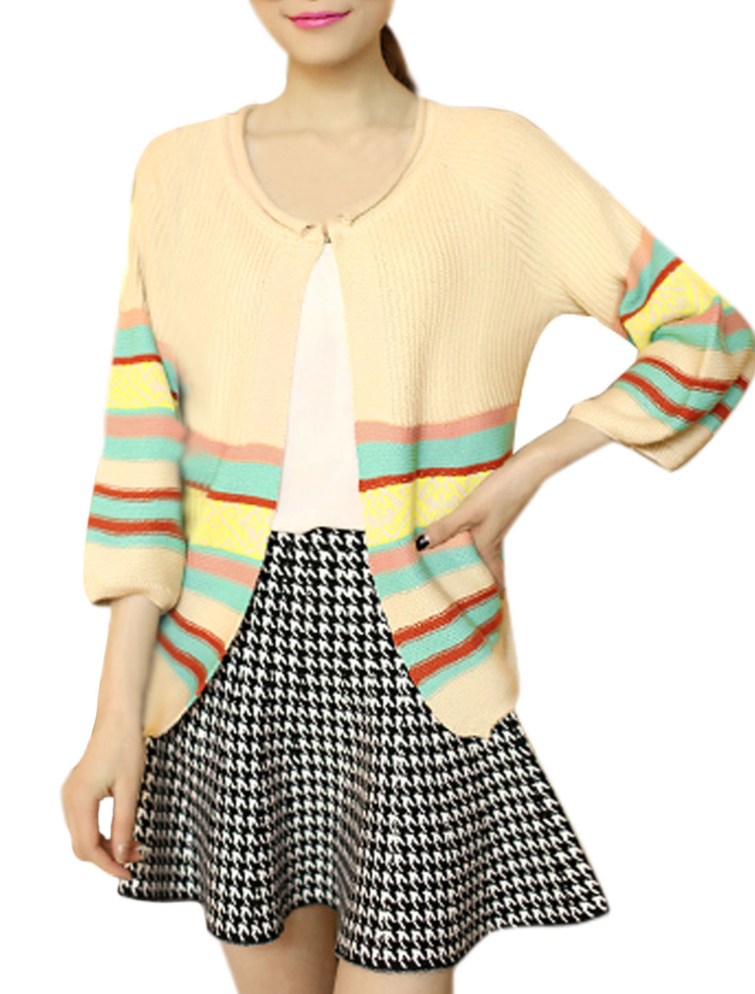 Lady 3/4 Sleeve Stripes Non-button Front Knitwear Cardigan Beige XS