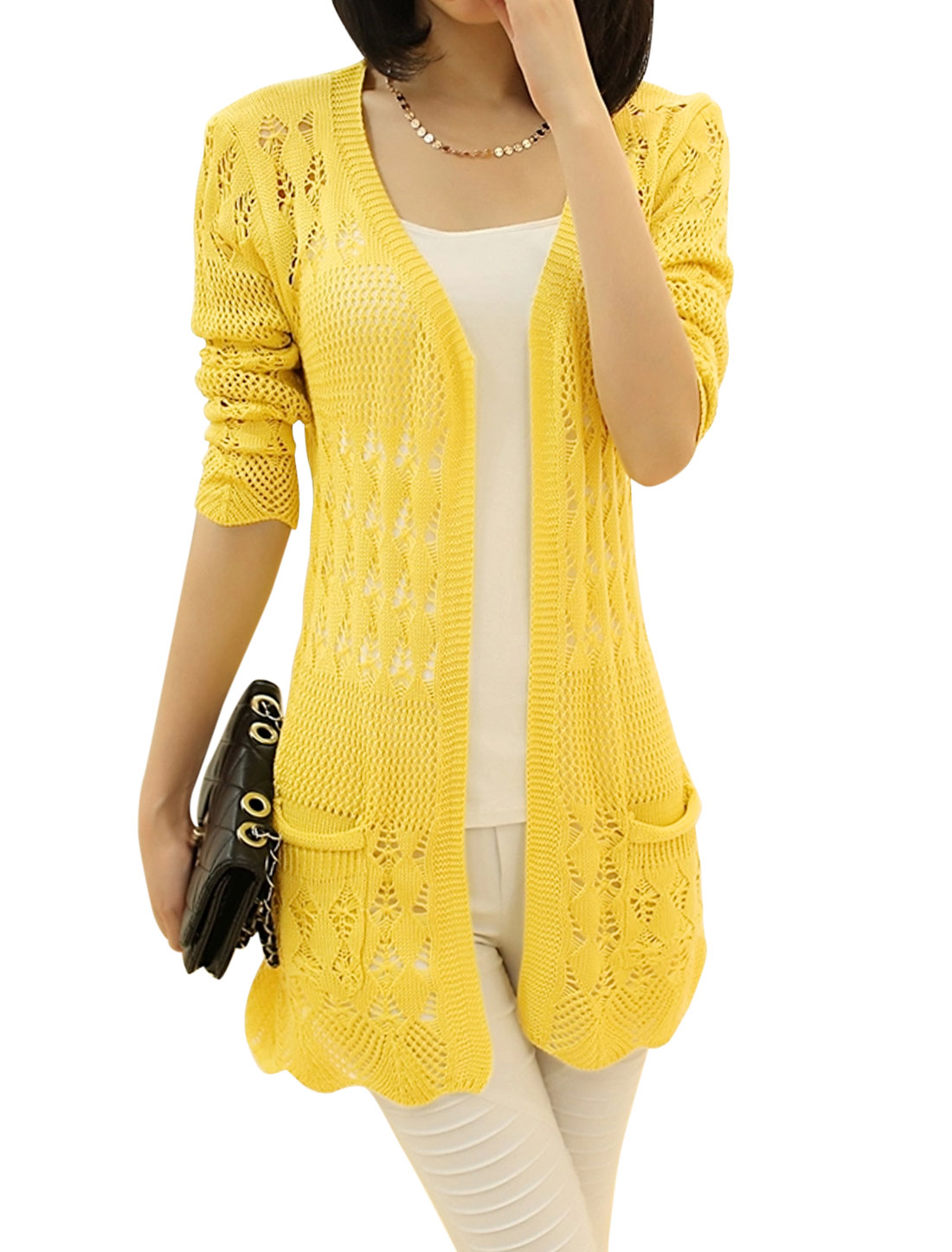 Lady Open Front Long Sleeve Hollow Out Long Knit Cardigan Yellow M
