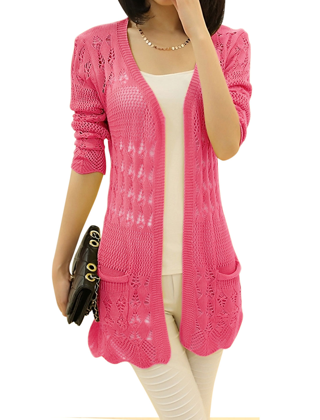 Lady Open Front Long Sleeve Hollow Out Leisure Long Knit Cardigan Fuchsia M