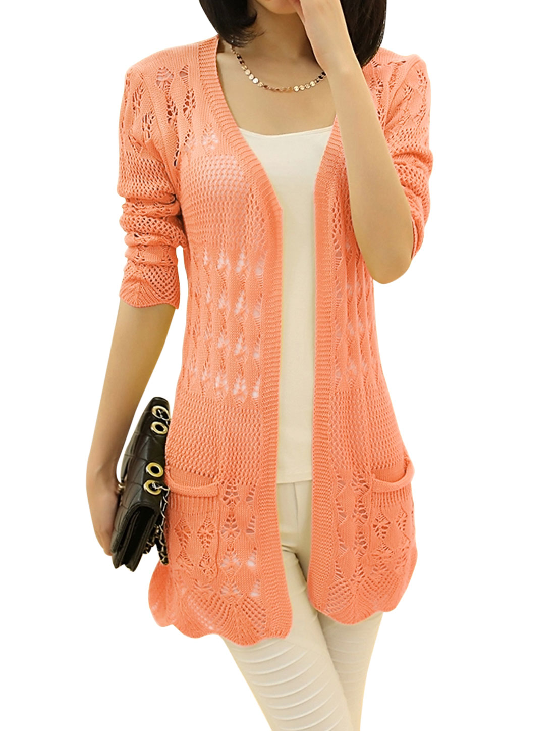 Lady Open Front Long Sleeve Hollow Out Elegant Long Knit Cardigan Coral M