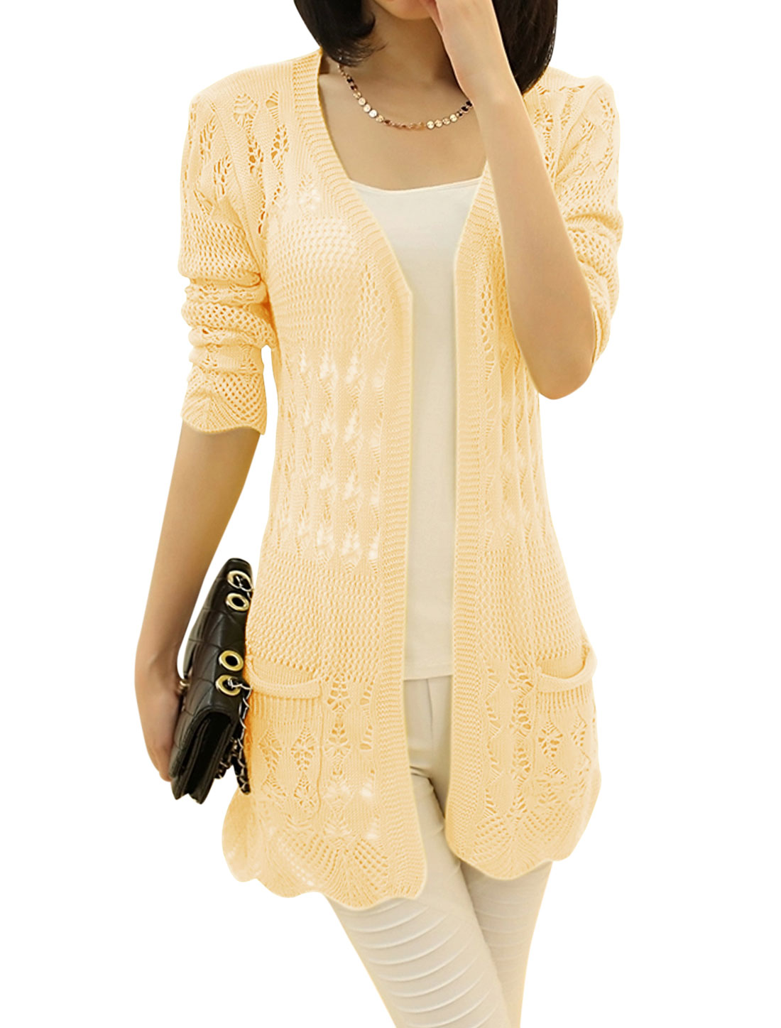 Lady Pure Pattern Long Sleeve Hollow Out Long Knit Cardigan Beige M