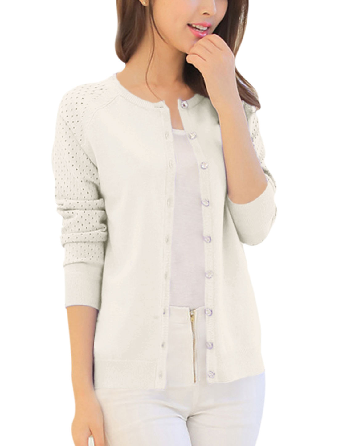 Lady Long Raglan Sleeve Button Up Hollow Out Design Knit Cardigan Beige XS