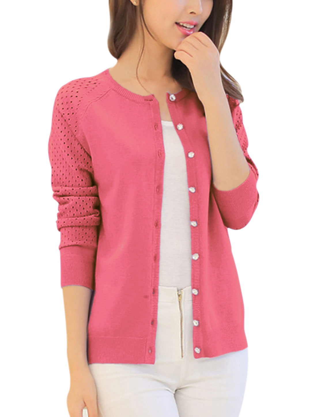 Lady Long Raglan Sleeve Button Down Hollow Out Design Knit Cardigan Fuchsia XS