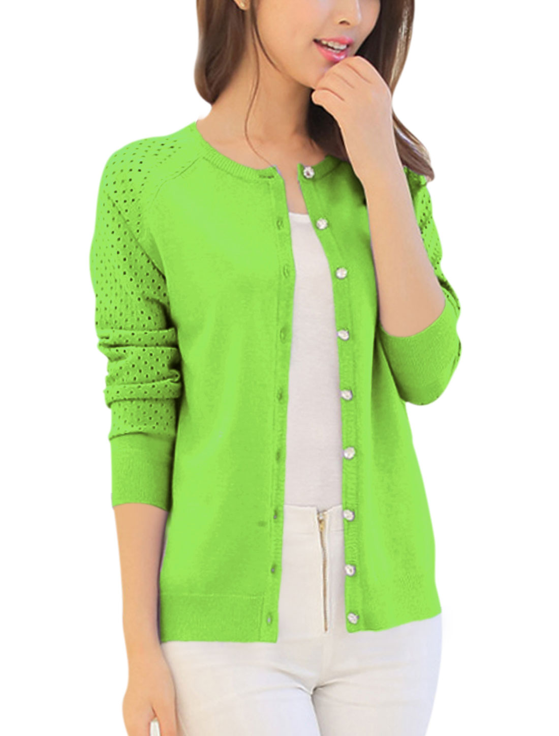 Lady Long Raglan Sleeve Button Front Hollow Out Knit Cardigan Apple Grren XS