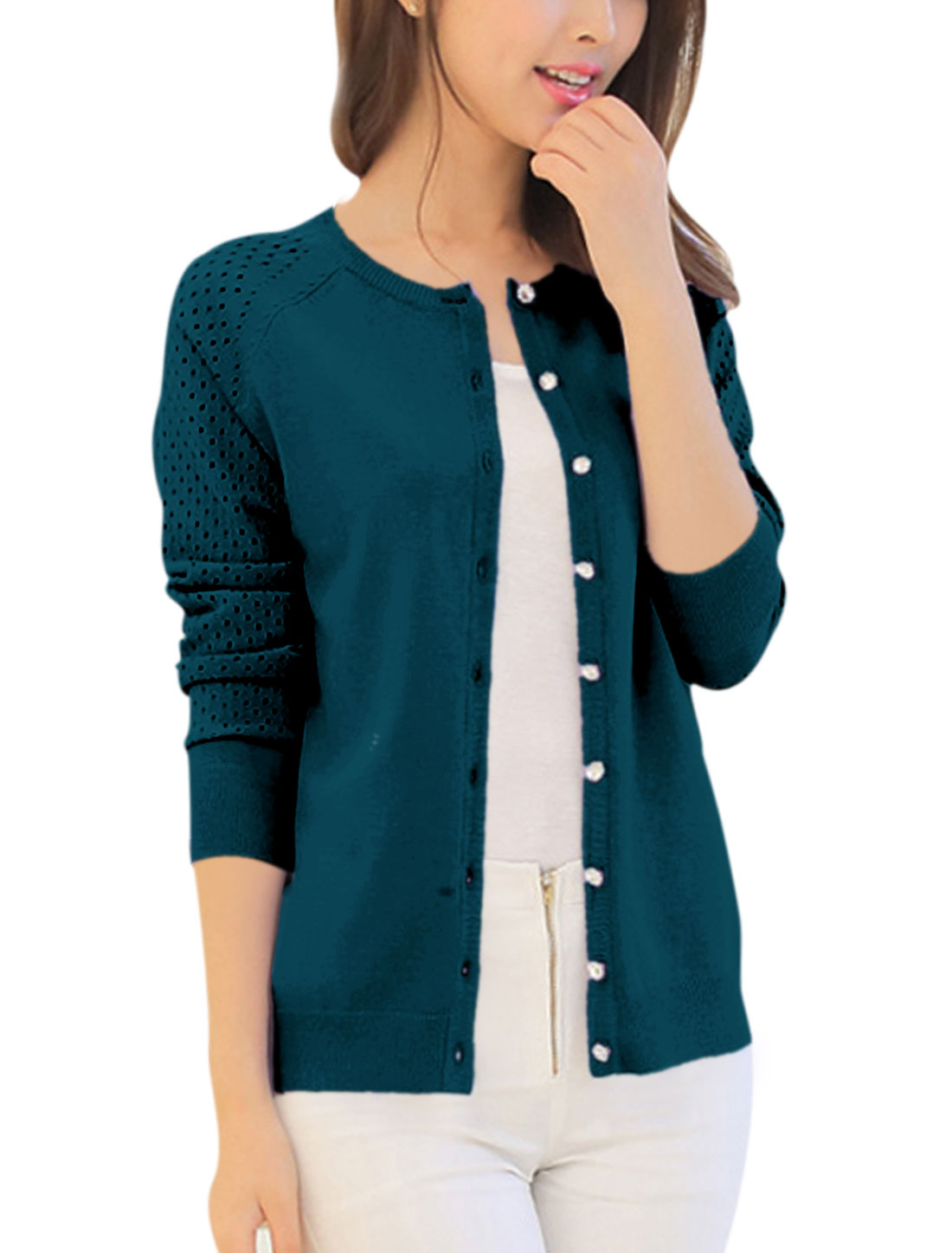 Lady Long Sleeve Button Closure Hollow Out Knit Cardigan Peacock Blue XS