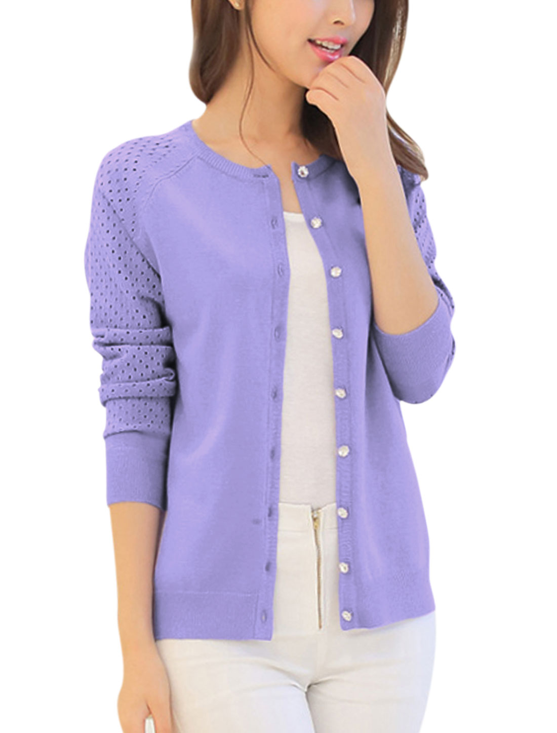 Lady Raglan Sleeve Single Breasted Hollow Out Casual Knit Cardigan Lavender XS