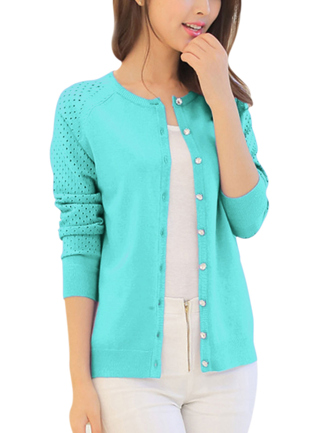 Women Long Raglan Sleeves Buttons Closed Hollow Out Design Cardigan Baby Blue XS