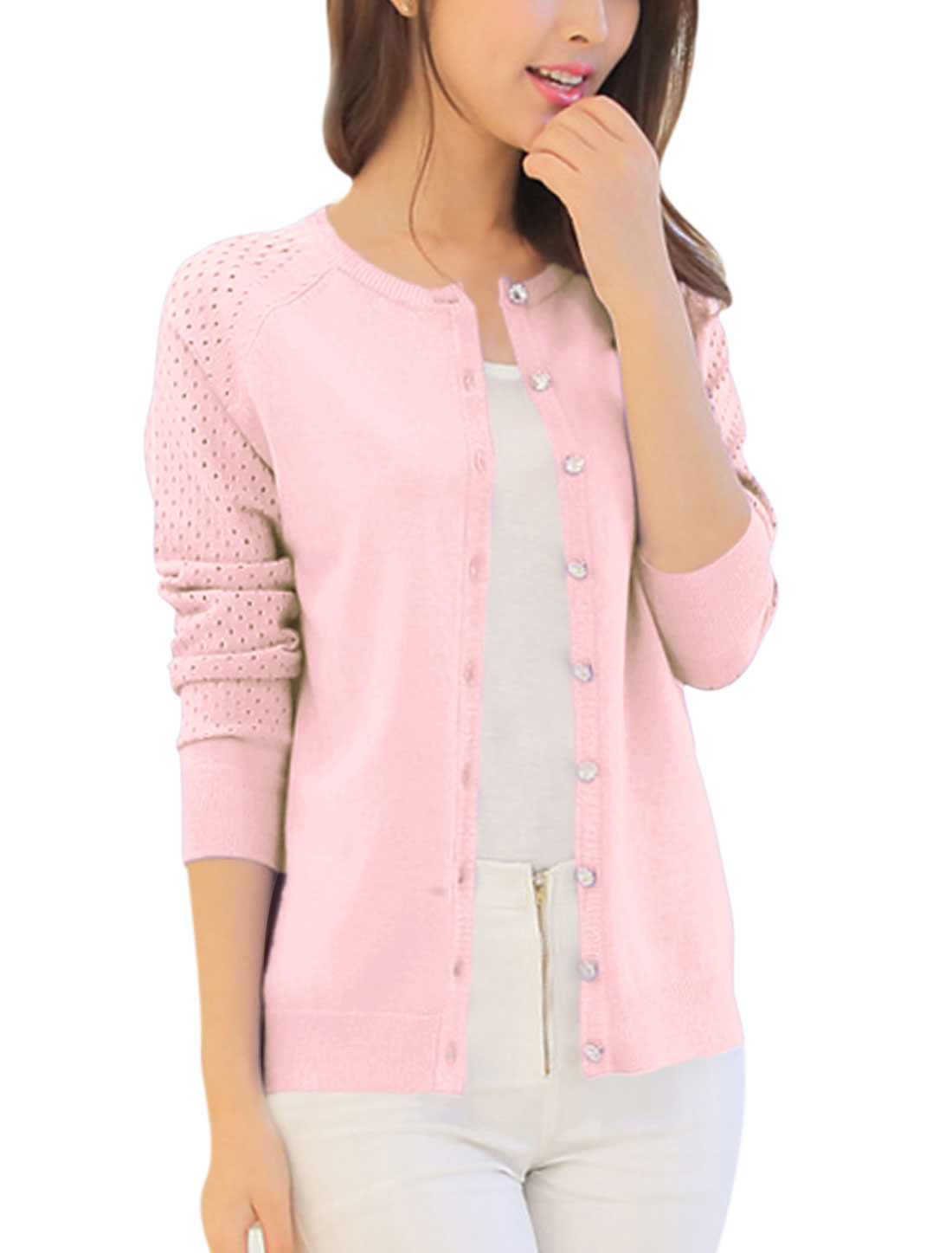 Lady Long Sleeve Single Breasted Hollow Out Leisure Knit Cardigan Pink XS