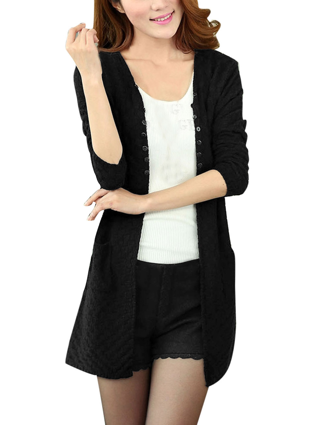 Lady Front Opening Buttons Decor Long Sleeve Knitting Cardigan Black S