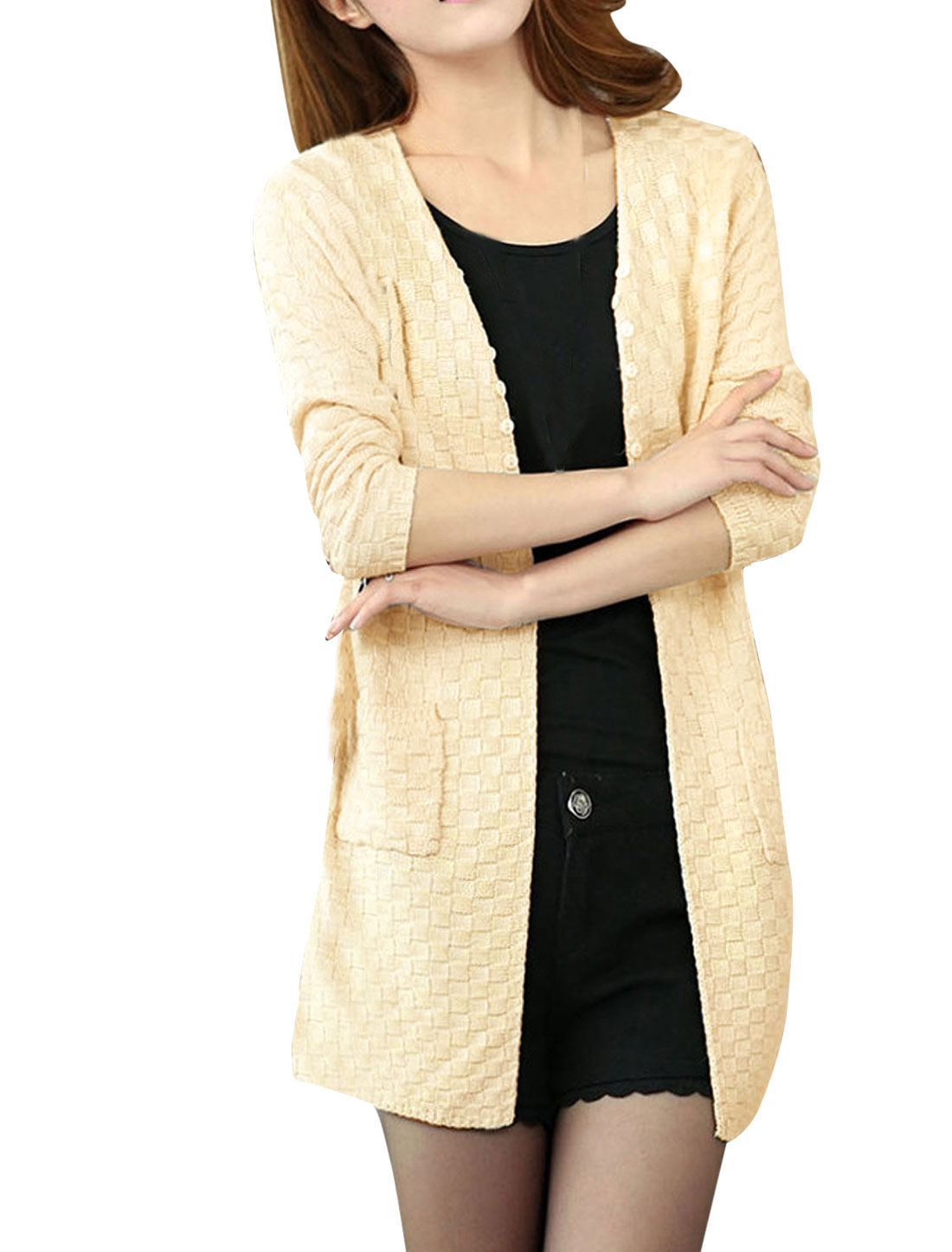 Lady Front Opening Buttons Decor Long Sleeve Knitted Cardigan Beige S