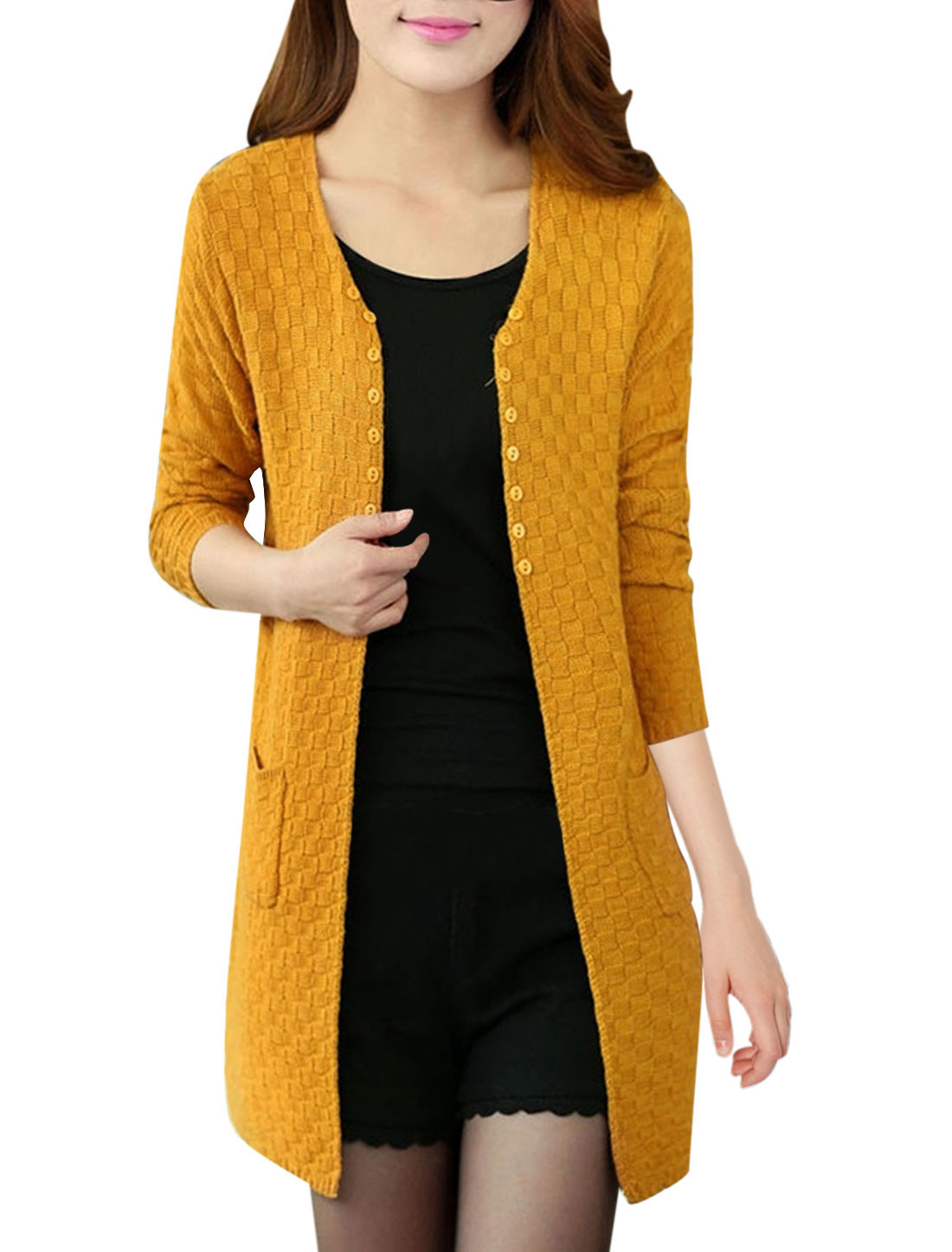 Lady Front Opening Buttons Decor Knitwear Cardigan Orange S