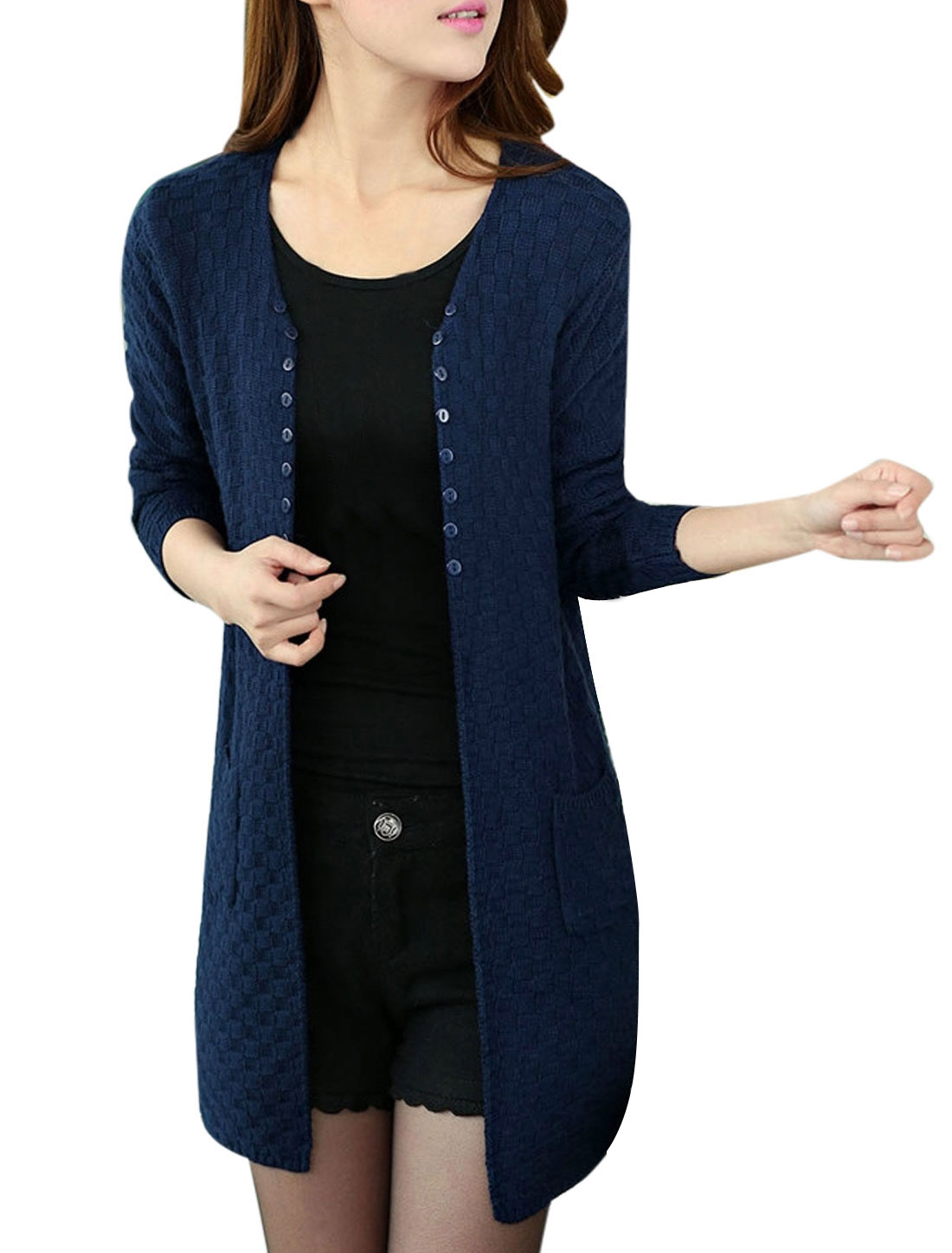 Lady Front Opening Long Sleeve Knit Cardigan Navy Blue S