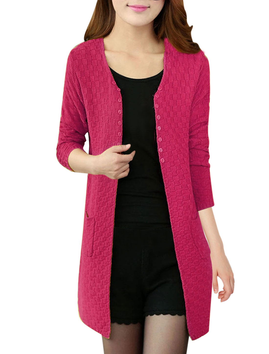 Lady Front Opening Buttons Decor Casual Knitting Cardigan Fuchsia S