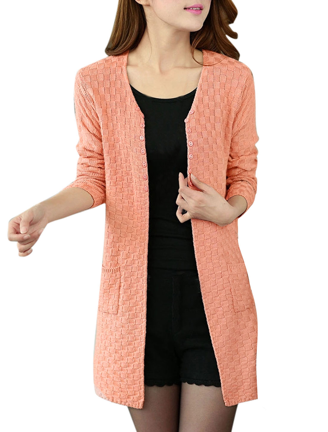 Lady Front Opening Buttons Decor Leisure Knitting Cardigan Coral S
