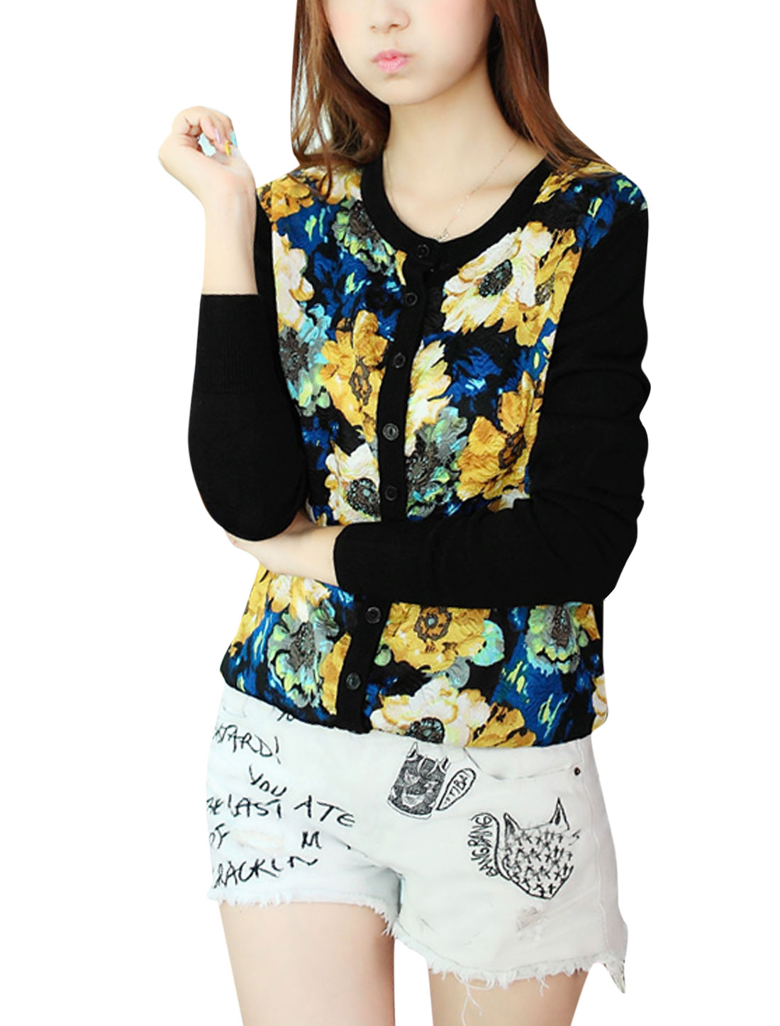 Lady Single Breasted Floral Prints Panel Design Knit Cardigan Black XS