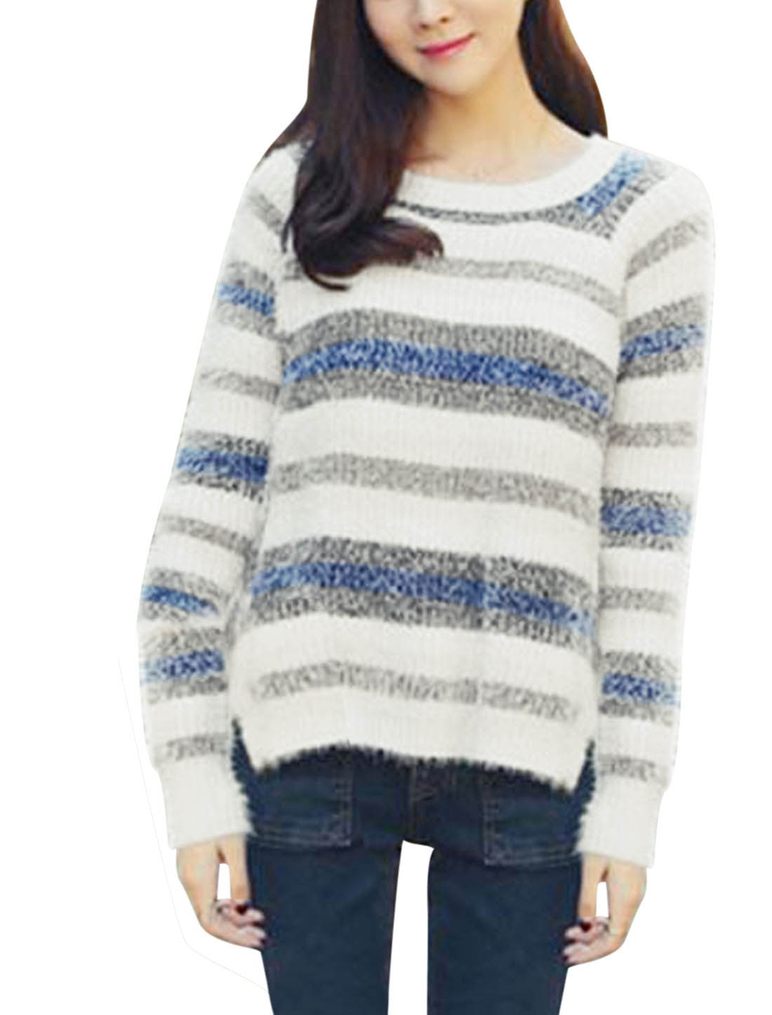 Lady Round Neck Contrast Color Stripes Split Side Loose Casual Sweater Multicolor S
