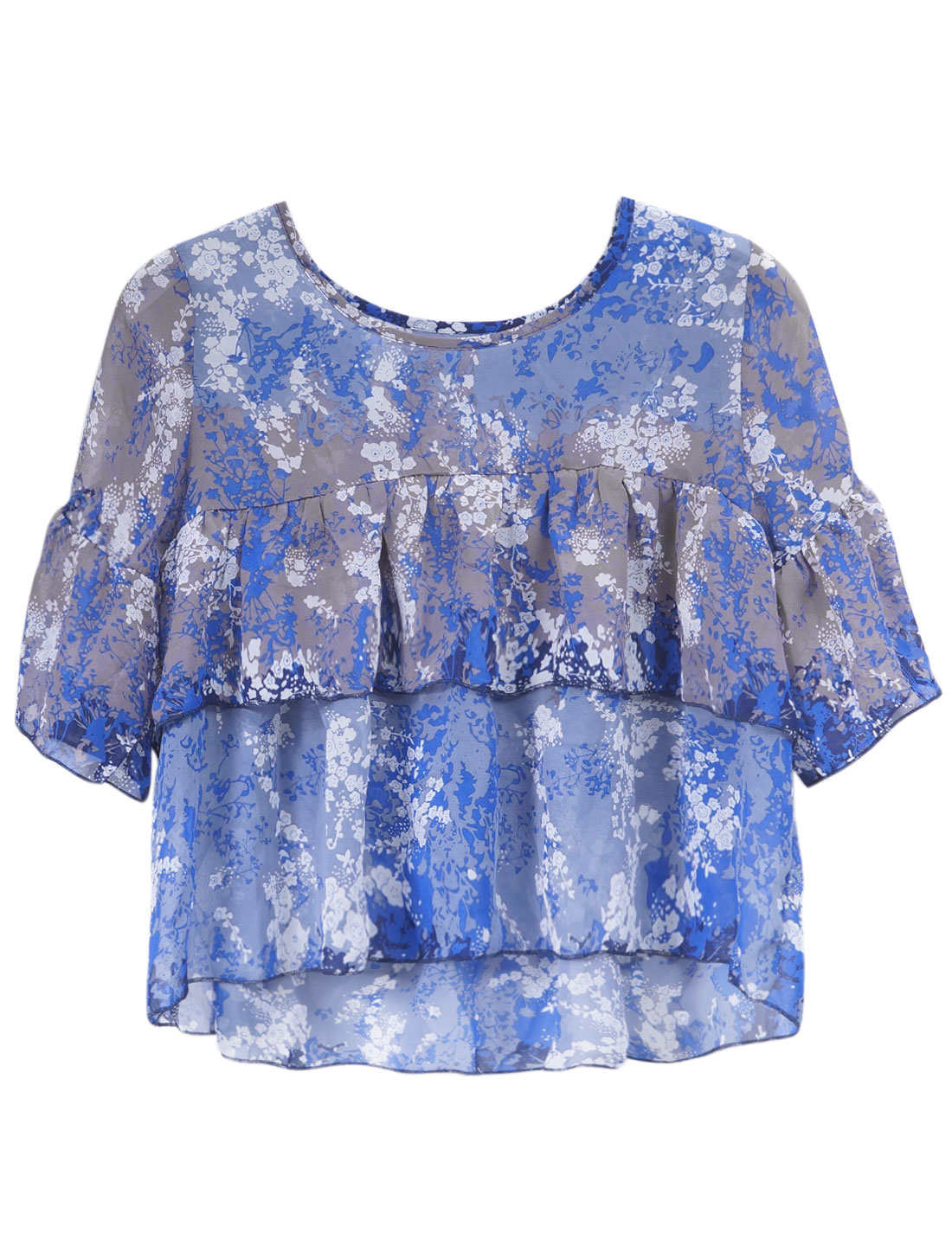 Lady 3/4 Sleeve Floral Prints Semi Sheer Tiered Flouncing Blouse Blue S