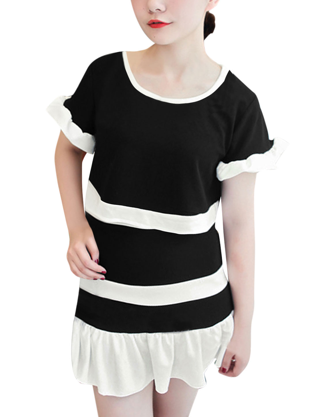 Lady Round Neck Color Block Top w Flouncing Design Skirt Black XS
