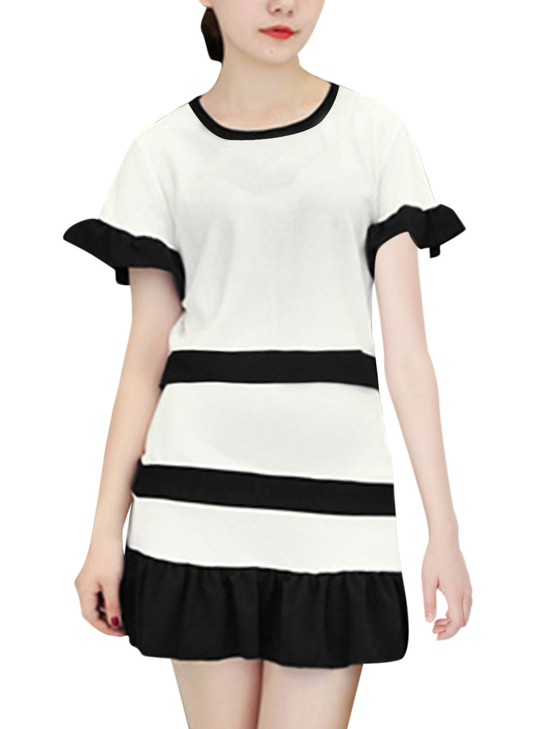 Lady Short Sleeve Color Block Top w Elastic Waist Skirt White XS