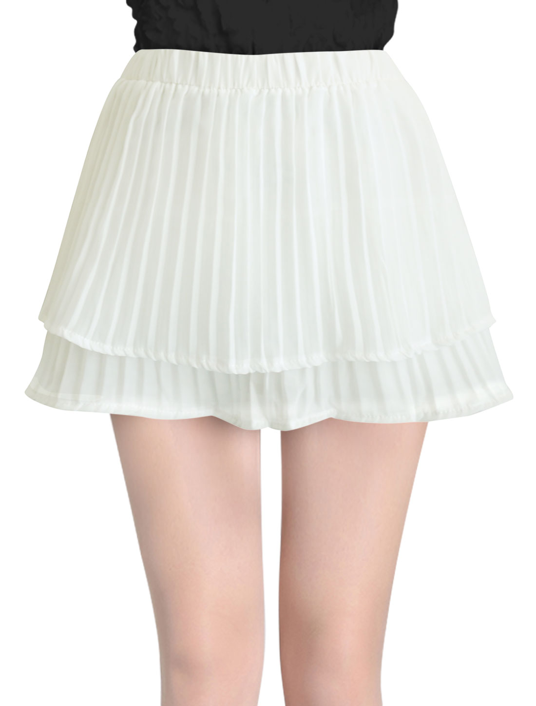 Lady NEW Stretchy Waist Tiered Design Pleated Skort White XS