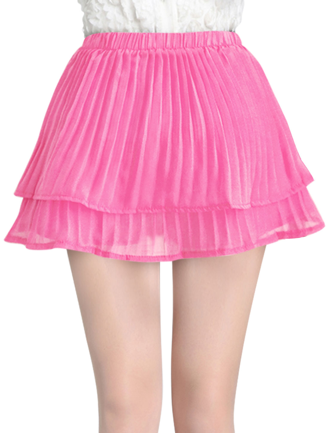 Lady NEW Elastic Waist Tiered Design Pleated Simple Skort Fuchsia XS