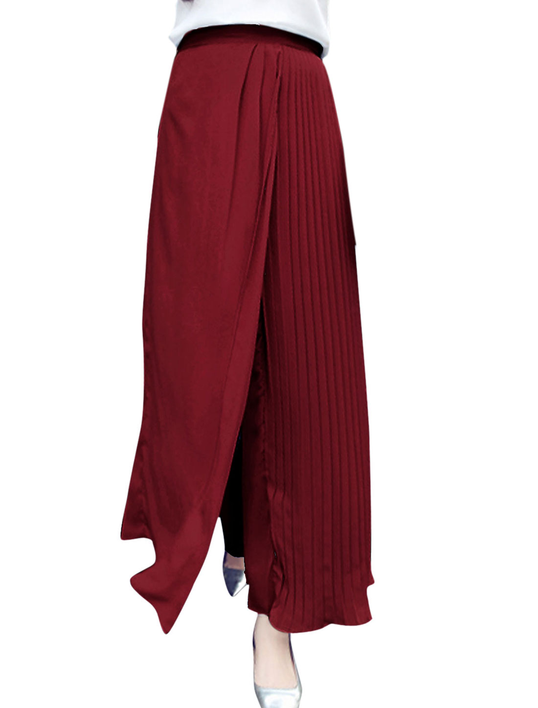 Women Stretch Waist Split Pleated Shorts Lining Palazzo Pants Burgundy XS